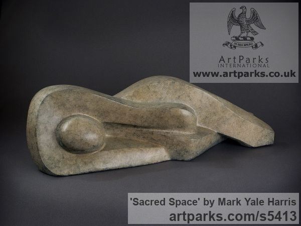 Bronze Small / Little Abstract Contemporary Sculptures / sculpture by sculptor Mark Yale Harris titled: 'Sacred Space (Semi abstract Lying nude Girl statuette/Figurine/syatue)'