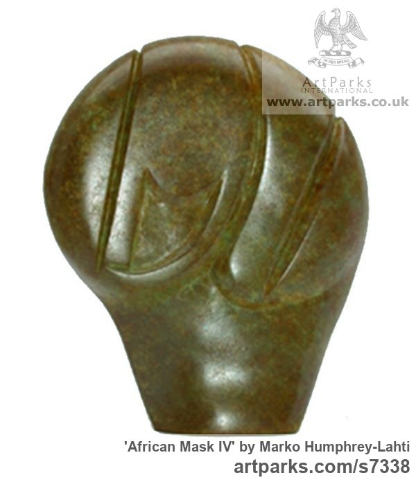 Bronze Minimalist Understated Abstract Contemporary Sculpture statuary statuettes sculpture by sculptor Marko Humphrey-Lahti titled: 'African Mask IV (abstract Modern Head statue)' - Artwork View 1