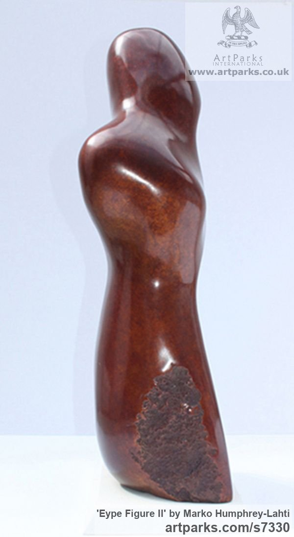 Bronze Abstract Contemporary or Modern Outdoor Outside Exterior Garden / Yard sculpture statuary sculpture by sculptor Marko Humphrey-Lahti titled: 'Eype Figure II (Sea Smooth abstract Modern statue)'
