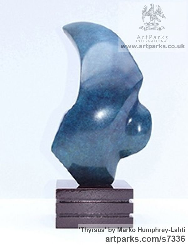 Bronze Minimalist Understated Abstract Contemporary Sculpture statuary statuettes sculpture by sculptor Marko Humphrey-Lahti titled: 'Thyrsus (Bronze Fang Crescent shaped Blue sculpturette)' - Artwork View 3