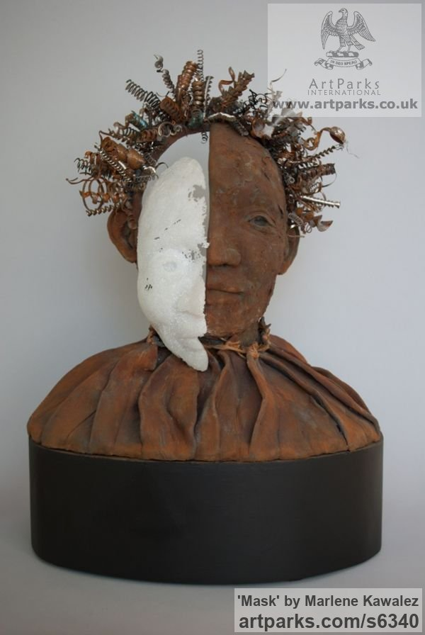 Clay and mixed media Mixed Media Sculptures, Statues Garden Ornaments sculpture by sculptor Marlene Kawalez titled: 'Mask (Face/Head Bust Modern statues/sculpture Mixed Media)'