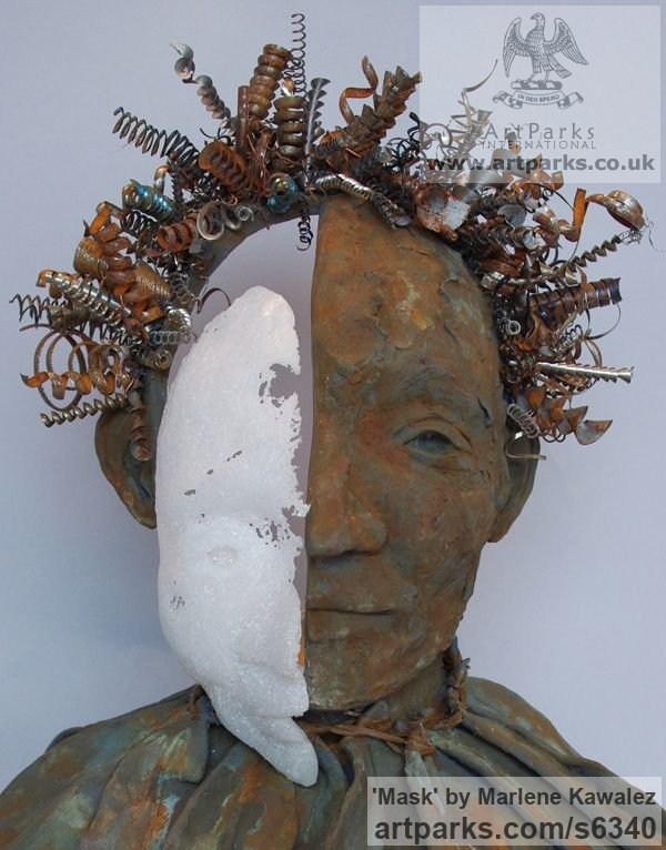 Clay and mixed media Mixed Media Sculptures, Statues Garden Ornaments sculpture by sculptor Marlene Kawalez titled: 'Mask (Face/Head Bust Modern statues/sculpture Mixed Media)' - Artwork View 2