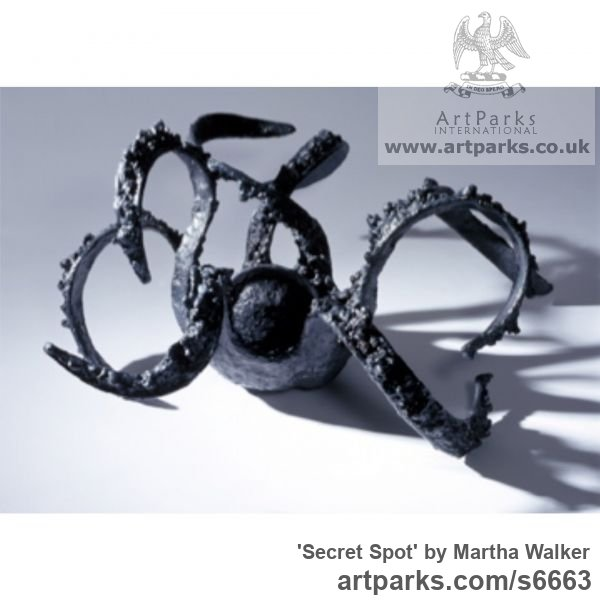 Welded steel, Abstract Contemporary Modern Outdoor Outside Garden / Yard sculpture statuary sculpture by sculptor Martha Walker titled: 'Secret Spot (Dream Tentacles Aquatic abstract Octopus Little statuette)' - Artwork View 1
