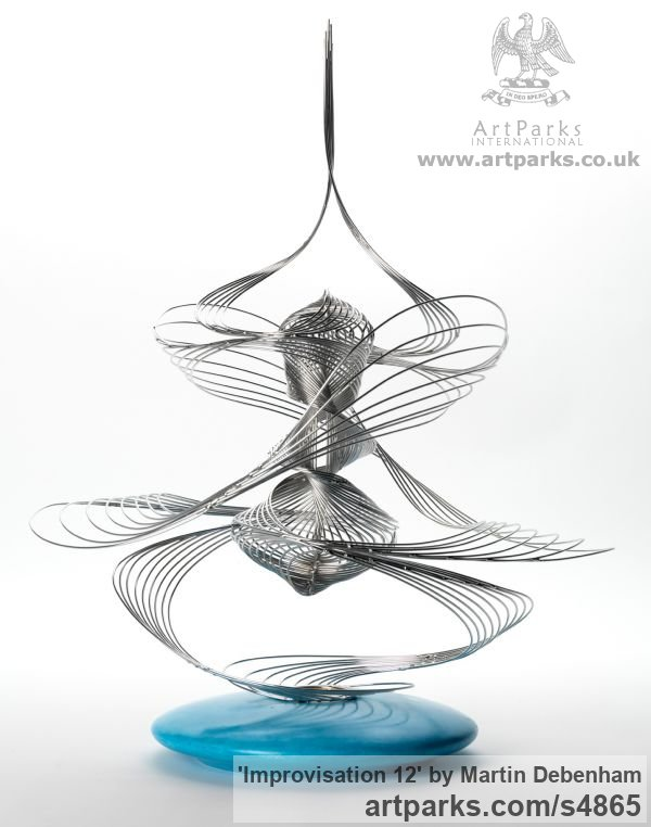 Marine grade stainless steel with turned wooden base Tabletop Desktop Small Indoor Statuettes Figurines sculpture by artist Martin Debenham titled: 'Improvisation 12 (stainless Steel Wire Modern statues/sculptures)' - Artwork View 1