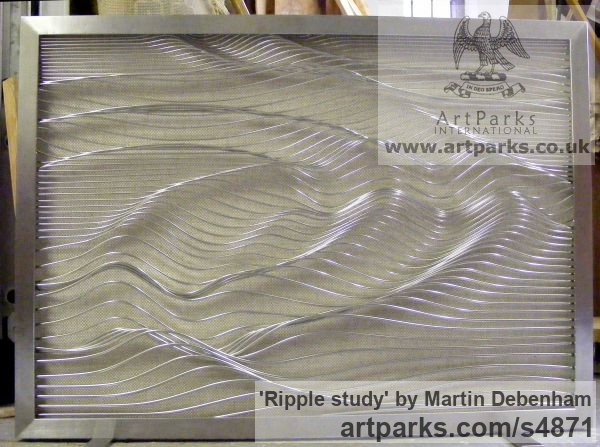 Stainless steel Wall Mounted or Wall Hanging sculpture by sculptor Martin Debenham titled: 'Ripple study (Wire High Relief Water Wavelets Panel sculpture)'