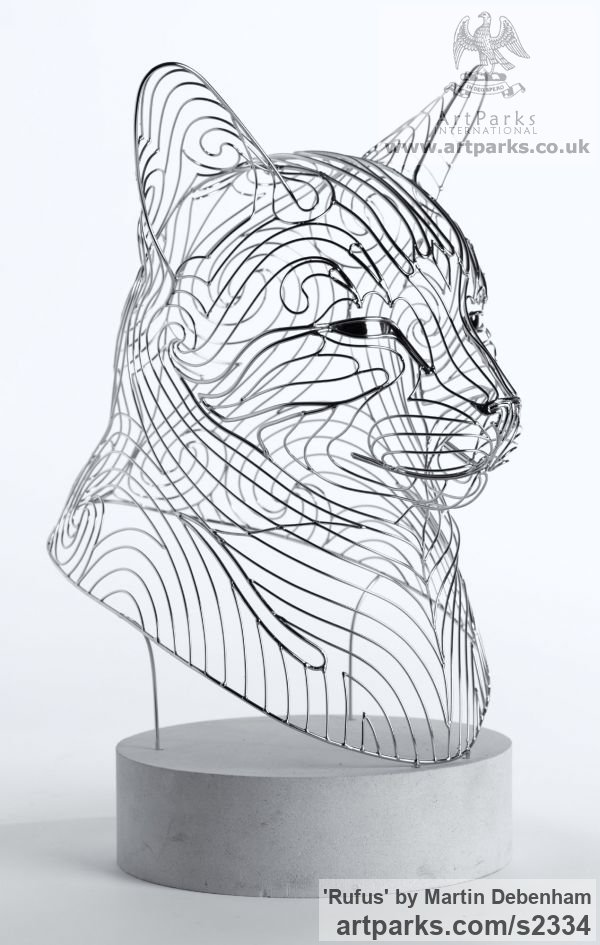 Stainless steel Cats sculpture by sculptor Martin Debenham titled: 'Rufus (stainless Steel Contemporary abstract Cat sculpture/statuette)' - Artwork View 4