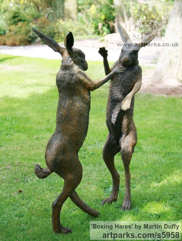 Iron resin Garden Or Yard / Outside and Outdoor sculpture by sculptor Martin Duffy titled: 'Boxing Hares (Mad March Hares life size Boxing statue)'