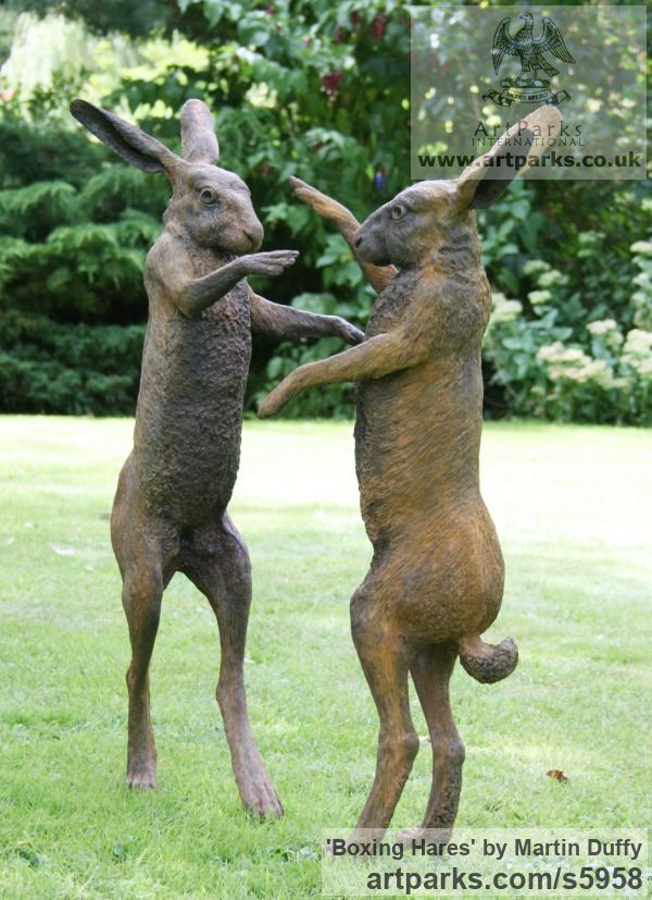 Iron resin Garden Or Yard / Outside and Outdoor sculpture by sculptor Martin Duffy titled: 'Boxing Hares (Mad March Hares life size Boxing statue)' - Artwork View 2