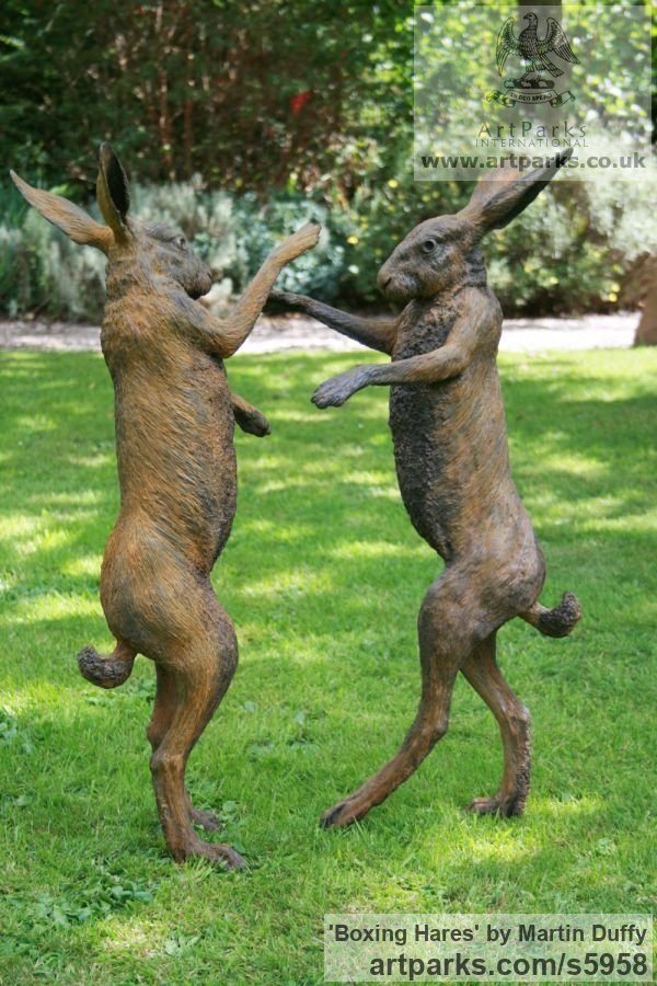 Iron resin Garden Or Yard / Outside and Outdoor sculpture by sculptor Martin Duffy titled: 'Boxing Hares (Mad March Hares life size Boxing statue)' - Artwork View 3