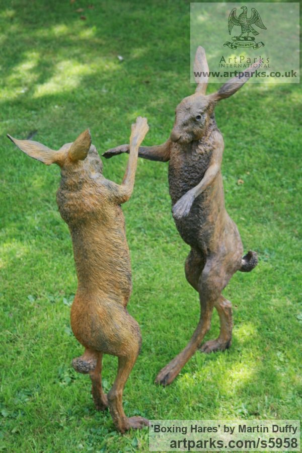 Iron resin Garden Or Yard / Outside and Outdoor sculpture by sculptor Martin Duffy titled: 'Boxing Hares (Mad March Hares life size Boxing statue)' - Artwork View 4