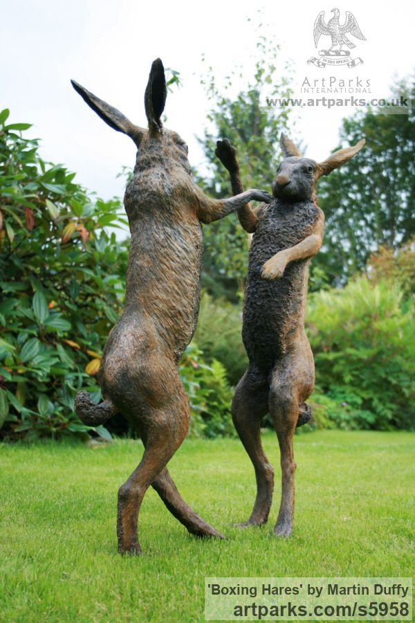 Iron resin Garden Or Yard / Outside and Outdoor sculpture by sculptor Martin Duffy titled: 'Boxing Hares (Mad March Hares life size Boxing statue)' - Artwork View 5