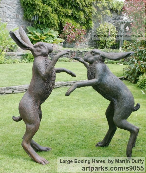 Bronze Garden Or Yard / Outside and Outdoor sculpture by sculptor Martin Duffy titled: 'Large Boxing Hares' - Artwork View 1