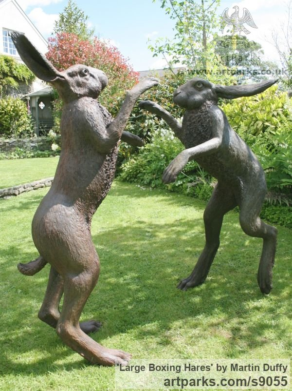 Bronze Garden Or Yard / Outside and Outdoor sculpture by sculptor Martin Duffy titled: 'Large Boxing Hares' - Artwork View 2