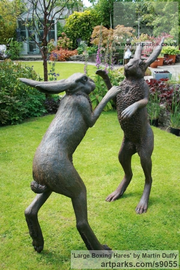 Bronze Garden Or Yard / Outside and Outdoor sculpture by sculptor Martin Duffy titled: 'Large Boxing Hares' - Artwork View 4