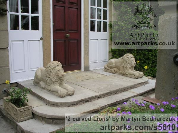 Sand stone Garden Or Yard / Outside and Outdoor sculpture by sculptor Martyn Bednarczuk titled: '2 carved Lions (Pair Front Doorstep Resting Carved stone statues)' - Artwork View 1