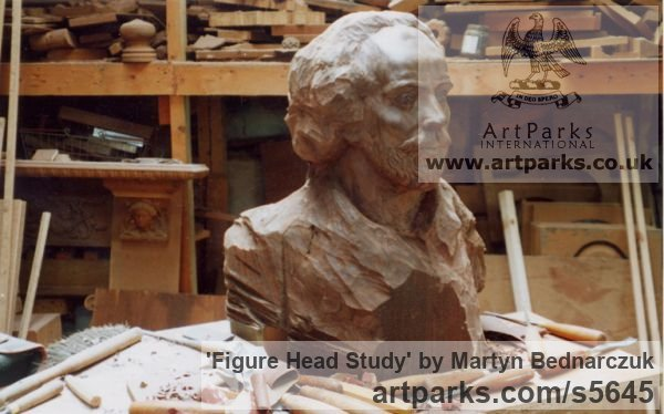 Black American Wallnut Portrait Sculptures / Commission or Bespoke or Customised sculpture by sculptor Martyn Bednarczuk titled: 'Figure Head Study (Carved Timber/Wood Commission/Custom/statue)'