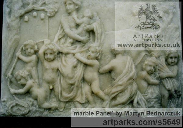 Marble Wall Mounted or Wall Hanging sculpture by sculptor Martyn Bednarczuk titled: 'marble Panel (Carved stone Classical Bucolic Scene Carving sculpture)' - Artwork View 1