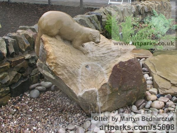 Sand Stone Garden Or Yard / Outside and Outdoor sculpture by sculptor Martyn Bednarczuk titled: 'Otter (Carved stone Searching garden/Yard sculpture/statue Lifelike)'