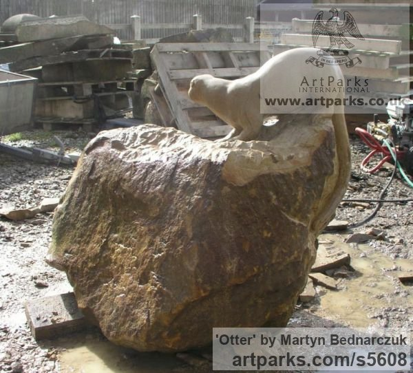 Sand Stone Garden Or Yard / Outside and Outdoor sculpture by sculptor Martyn Bednarczuk titled: 'Otter (Carved stone Searching garden/Yard sculpture/statue Lifelike)' - Artwork View 2