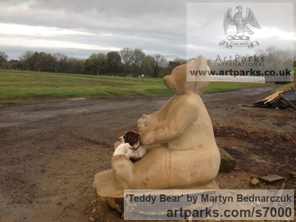 Stone Toys Sculpture / statue / statuette / figurine sculpture by sculptor Martyn Bednarczuk titled: 'Teddy Bear'