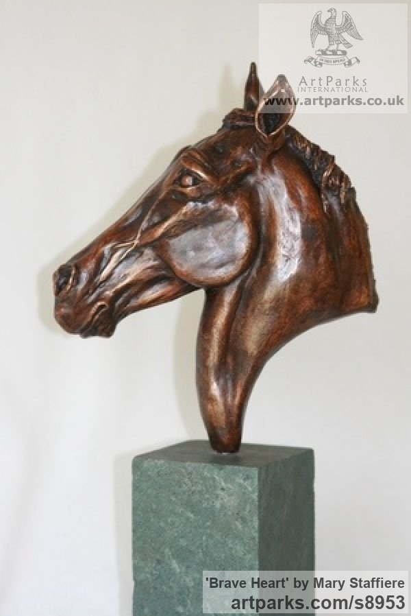 Bronze Horse Sculpture / Equines Race Horses Pack HorseCart Horses Plough Horsess sculpture by sculptor Mary Staffiere titled: 'Brave Heart (Small Horse Head Bust sculpture)' - Artwork View 3