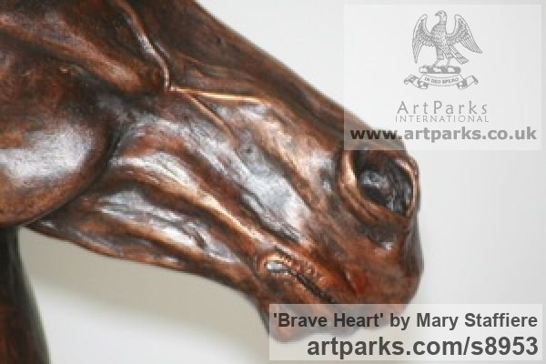 Bronze Horse Sculpture / Equines Race Horses Pack HorseCart Horses Plough Horsess sculpture by sculptor Mary Staffiere titled: 'Brave Heart (Small Horse Head Bust sculpture)' - Artwork View 4