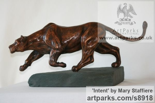 Bronze Cats Wild and Big Cats sculpture by sculptor Mary Staffiere titled: 'Intent (Little Prowling Hunting Lioness sculptures)'