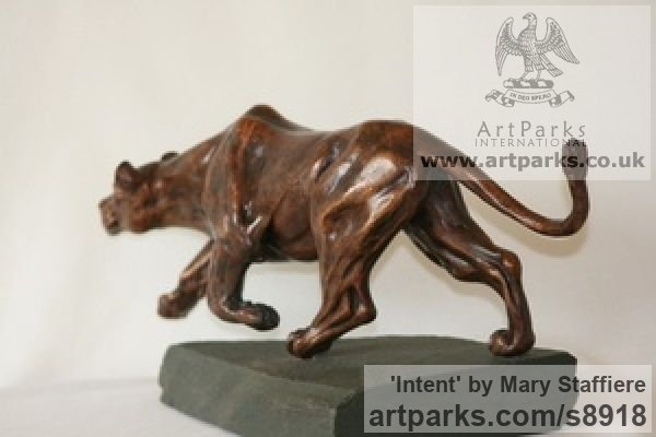Bronze Cats Wild and Big Cats sculpture by sculptor Mary Staffiere titled: 'Intent (Little Prowling Hunting Lioness sculptures)' - Artwork View 4