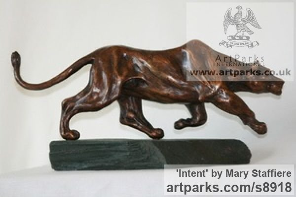 Bronze Cats Wild and Big Cats sculpture by sculptor Mary Staffiere titled: 'Intent (Little Prowling Hunting Lioness sculptures)' - Artwork View 5