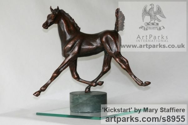 Bronze Horse Sculpture / Equines Race Horses Pack HorseCart Horses Plough Horsess sculpture by sculptor Mary Staffiere titled: 'Kickstart (Lively Little Trotting Horse sculptures)'