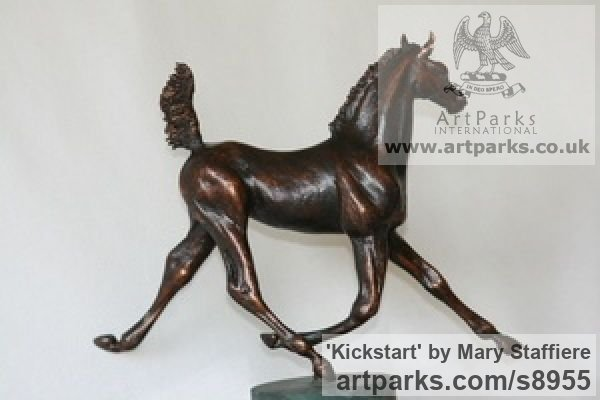 Bronze Horse Sculpture / Equines Race Horses Pack HorseCart Horses Plough Horsess sculpture by sculptor Mary Staffiere titled: 'Kickstart (Lively Little Trotting Horse sculptures)' - Artwork View 2