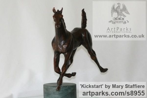 Bronze Horse Sculpture / Equines Race Horses Pack HorseCart Horses Plough Horsess sculpture by sculptor Mary Staffiere titled: 'Kickstart (Lively Little Trotting Horse sculptures)' - Artwork View 4