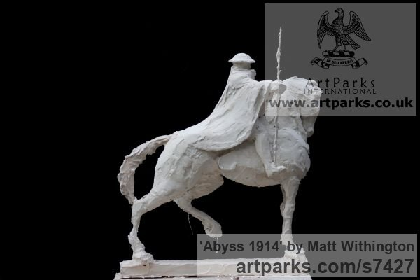 Shown in Plaster to be cast in Bronze Horse Sculpture / Equines Race Horses Pack HorseCart Horses Plough Horsess sculpture by sculptor Matt Withington titled: 'Abyss 1914 (War Memorial Soldier on Horseback sculpturette Maquett)'