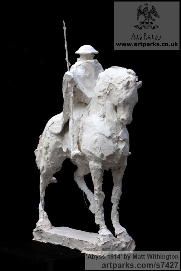Shown in Plaster to be cast in Bronze Horse Sculpture / Equines Race Horses Pack HorseCart Horses Plough Horsess sculpture by sculptor Matt Withington titled: 'Abyss 1914 (War Memorial Soldier on Horseback sculpturette Maquett)' - Artwork View 2