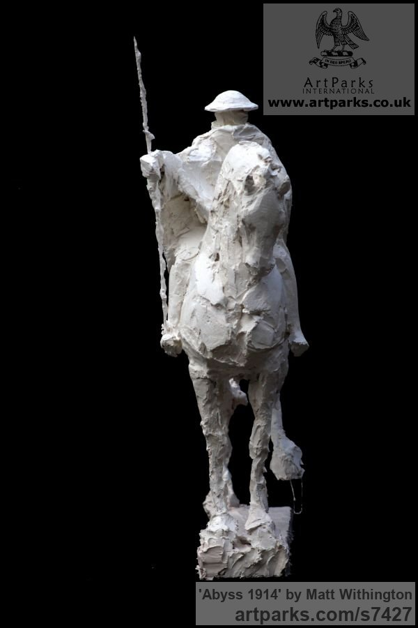 Shown in Plaster to be cast in Bronze Horse Sculpture / Equines Race Horses Pack HorseCart Horses Plough Horsess sculpture by sculptor Matt Withington titled: 'Abyss 1914 (War Memorial Soldier on Horseback sculpturette Maquett)' - Artwork View 3