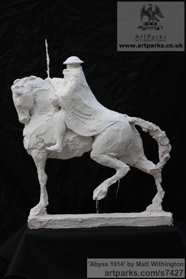 Shown in Plaster to be cast in Bronze Horse Sculpture / Equines Race Horses Pack HorseCart Horses Plough Horsess sculpture by sculptor Matt Withington titled: 'Abyss 1914 (War Memorial Soldier on Horseback sculpturette Maquett)' - Artwork View 4