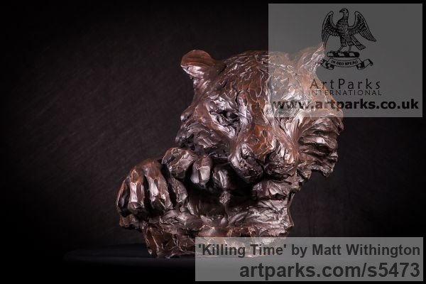 Bronze Cats sculpture by sculptor Matt Withington titled: 'Killing Time (Bronze Resting Tiger Head Bust sculpture for sale)'