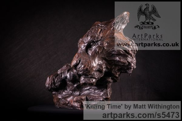 Bronze Cats sculpture by sculptor Matt Withington titled: 'Killing Time (Bronze Resting Tiger Head Bust sculpture for sale)' - Artwork View 2