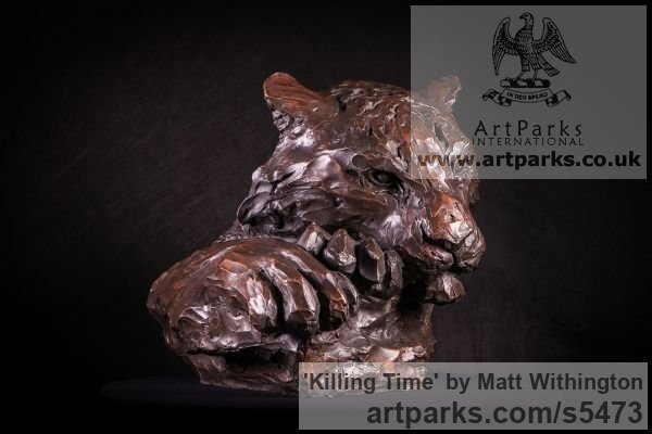 Bronze Cats sculpture by sculptor Matt Withington titled: 'Killing Time (Bronze Resting Tiger Head Bust sculpture for sale)' - Artwork View 4