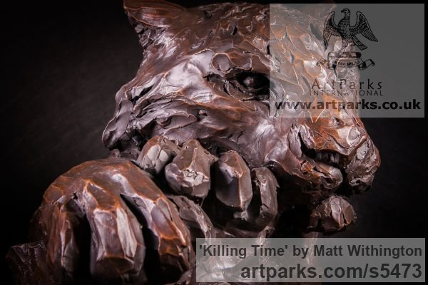 Bronze Cats sculpture by sculptor Matt Withington titled: 'Killing Time (Bronze Resting Tiger Head Bust sculpture for sale)' - Artwork View 5