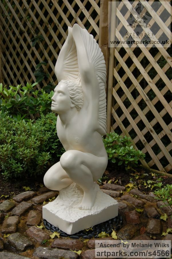 Maltese Limestone Male Men Youths Masculine sculpturettes figurines sculpture by sculptor Melanie Wilks titled: 'Ascend (Carved stone Man/Angel with Wings garden/Yard statue/carving)' - Artwork View 4