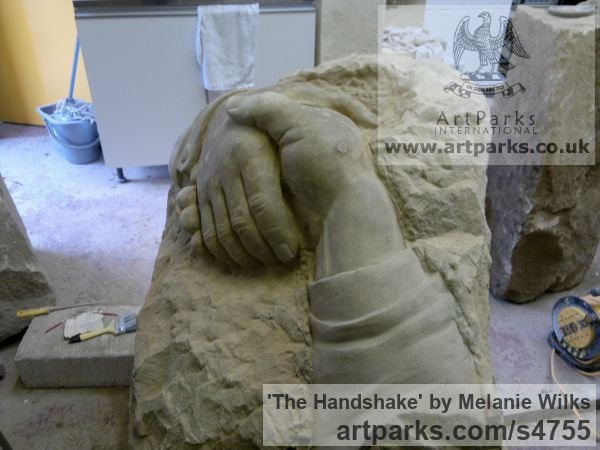 Sandstone Garden Or Yard / Outside and Outdoor sculpture by sculptor Melanie Wilks titled: 'The Handshake (Carved stone Clasped Hands statues/carving/sculpture)' - Artwork View 2