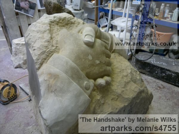 Sandstone Garden Or Yard / Outside and Outdoor sculpture by sculptor Melanie Wilks titled: 'The Handshake (Carved stone Clasped Hands statues/carving/sculpture)' - Artwork View 3