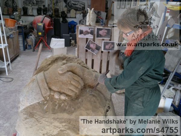 Sandstone Garden Or Yard / Outside and Outdoor sculpture by sculptor Melanie Wilks titled: 'The Handshake (Carved stone Clasped Hands statues/carving/sculpture)' - Artwork View 5