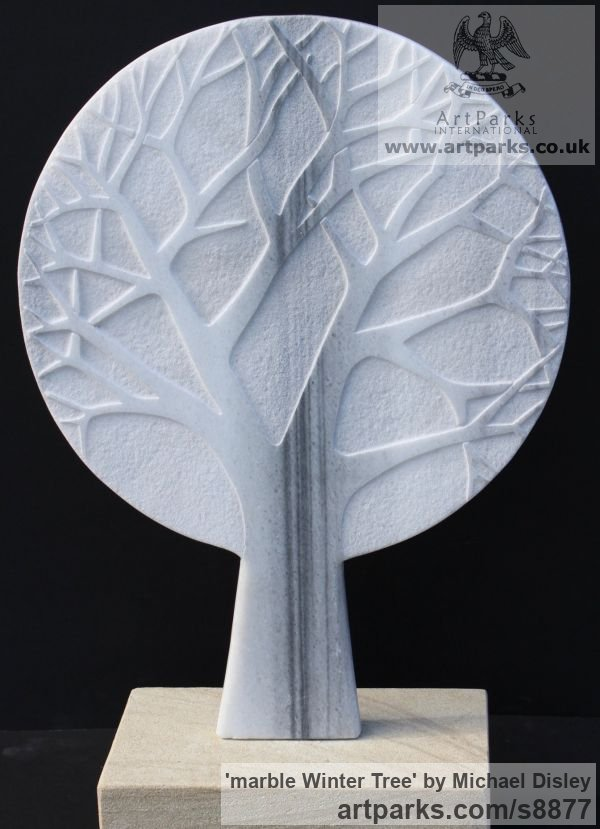 MARBLE Wall Mounted or Wall Hanging sculpture by sculptor Michael Disley titled: 'marble Winter Tree (Wall Plaque Relief Carved statue)'
