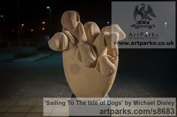 Sandstone / Granite Dogs sculpture by sculptor Michael Disley titled: 'Sailing To The Isle of Dogs (Fun Puppies Boat statue)' - Artwork View 2
