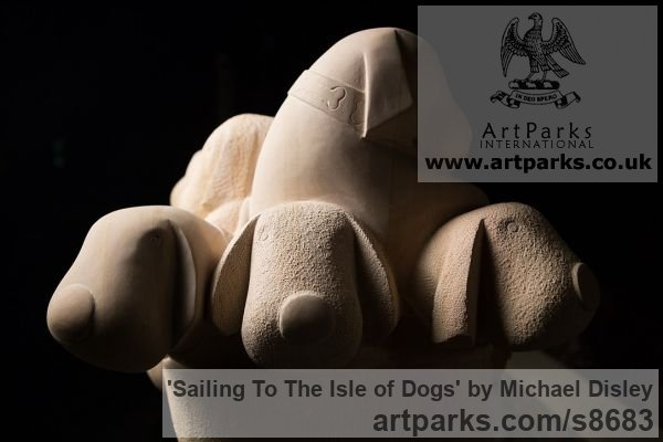 Sandstone / Granite Dogs sculpture by sculptor Michael Disley titled: 'Sailing To The Isle of Dogs (Fun Puppies Boat statue)' - Artwork View 4
