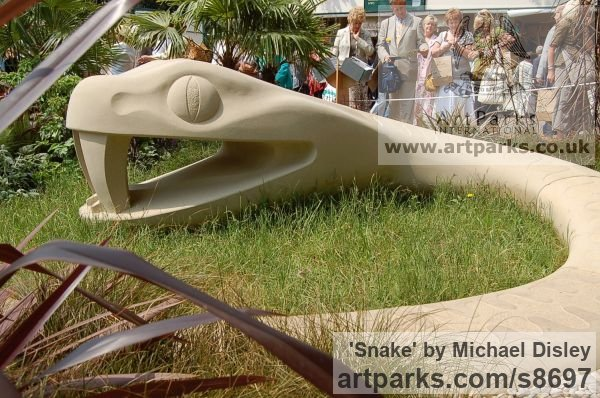 Stone Carved or Carving sculpture by sculptor Michael Disley titled: 'Snake (Modern Giant Carved stone Public Park statue)' - Artwork View 3