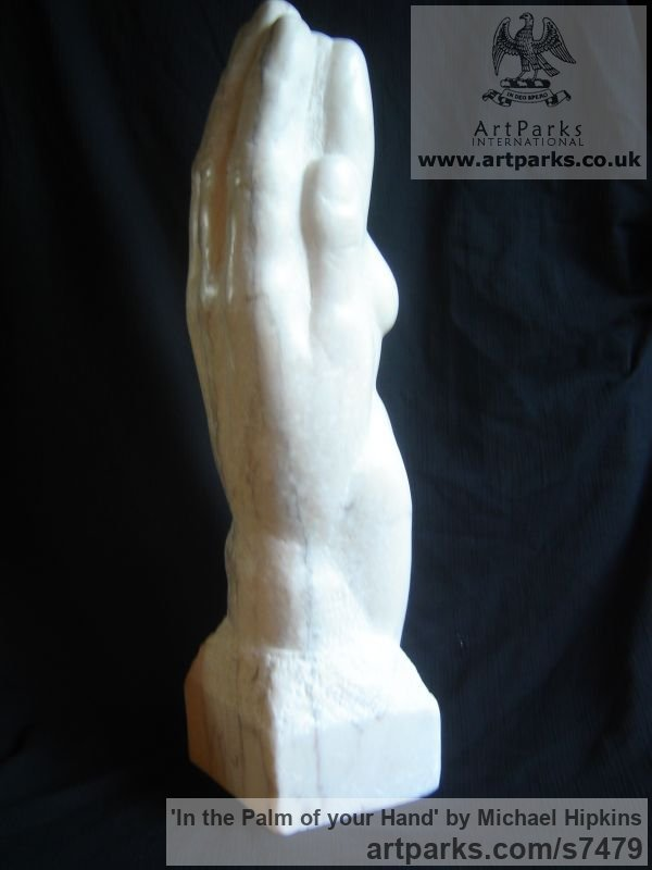 Portuguese Rose Marble Carved Stone, Marble, Alabaster, Soap Stone Granite Lime stone sculpture by sculptor Michael Hipkins titled: 'In the Palm of your Hand (nude Girl in Hand Carved marble statuette)'