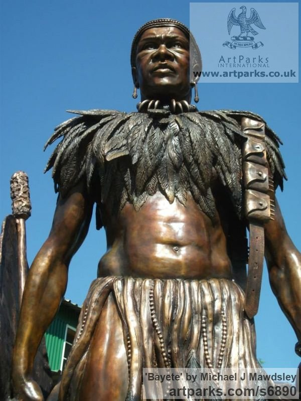 Bronze Male Men Youths Masculine sculpturettes figurines sculpture by sculptor Michael J Mawdsley titled: 'Bayete (Life-Size bronze statue Commission of King Mzilikazi)'